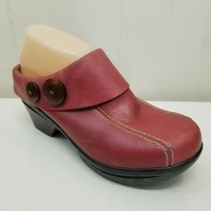 Sanita Red Clogs Button Open Back Leather 7 7.5